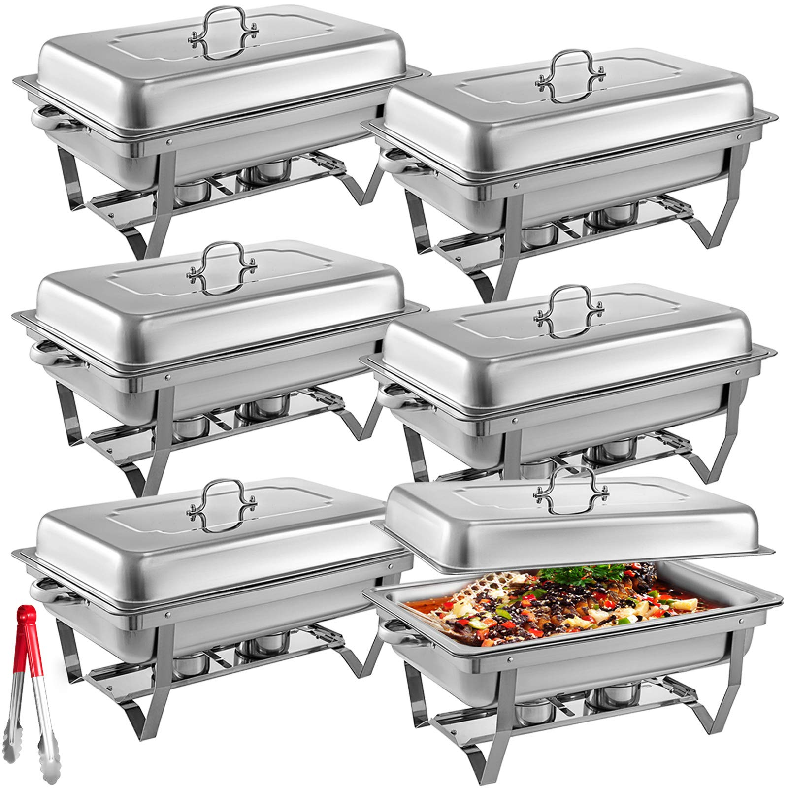 Mophorn 6 Packs Stainless Steel Chafing Dishes 8 Quart Full Size Pan Rectangular Chafer Complete Set by Mophorn