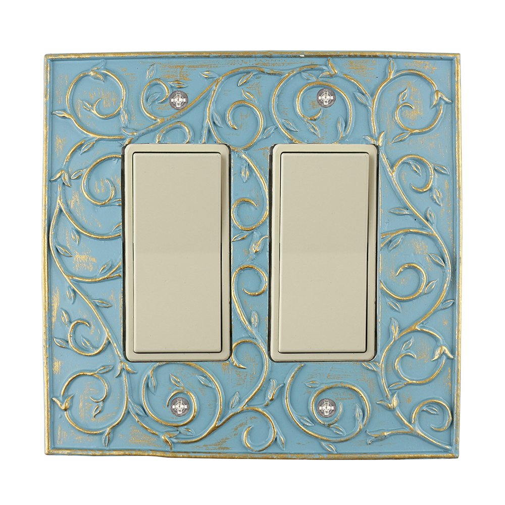 Meriville French Scroll 2 Rocker Wallplate, Double Switch Electrical Cover Plate, Cameo Blue with Gold