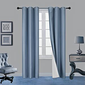 Gorgeous Home LINEN Midwest (WC34) Different Colors and Sizes1 Panel Drape Window Treatment Curtain Thermal Insulated White Coating Blackout Silver Grommets Solid Color (84