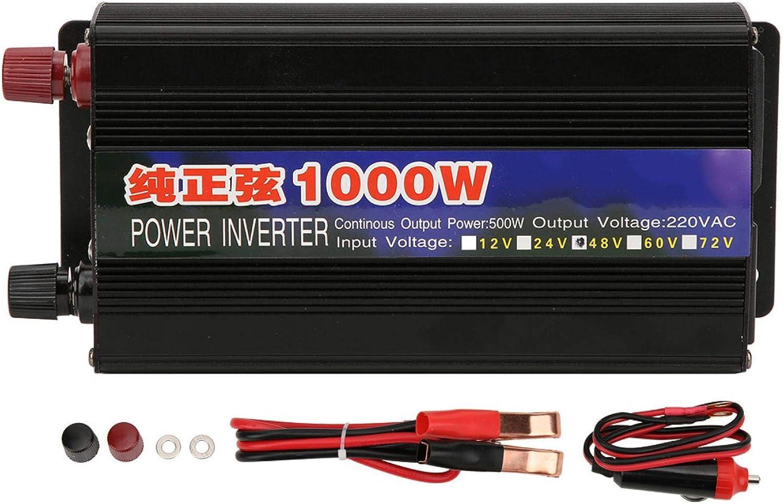 Inversor de Energía de Onda Sinusoidal Pura de 1000 W, DC12V / 24V / 48V / 60V a AC 220V Transformador Inversor de Voltaje de Coche Doméstico(DC48V to AC220V)