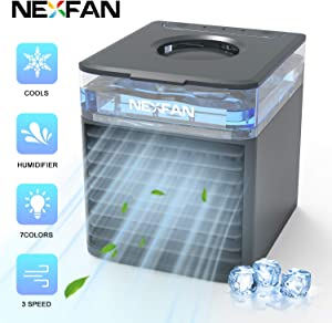 ATHLERIA NexFan Air Cooler - Mini Portable Air Conditioner Fan - 4 in 1 Evaporative Personal Cooler - Humidifier with 7 Colors LED Light - 3 Speed USB Desktop Cooling Fan for Home, Room, Office(Black)