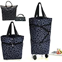 Cocobuy Folding Shopping Bag with Wheels Foldable Shopping Cart Grocery Bags Shopping Trolley Bag on Wheels