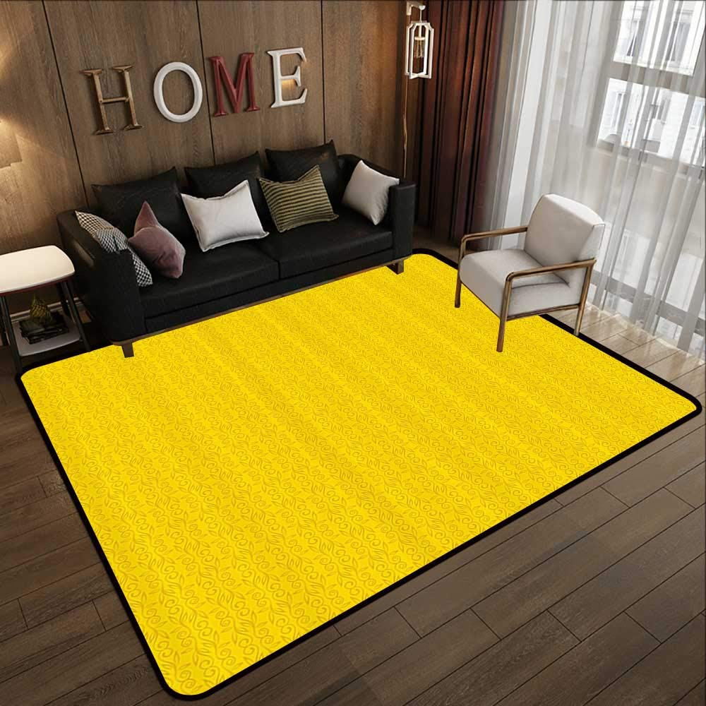 Pattern02 47 x 71 (W120cm x L180cm) Carpet mat,Yellow Decor,Modern Artdeco Style Design Forest with Birds and Trees Artwork,White Black and Amber 63 x 94  Floor Mat Entrance Doormat