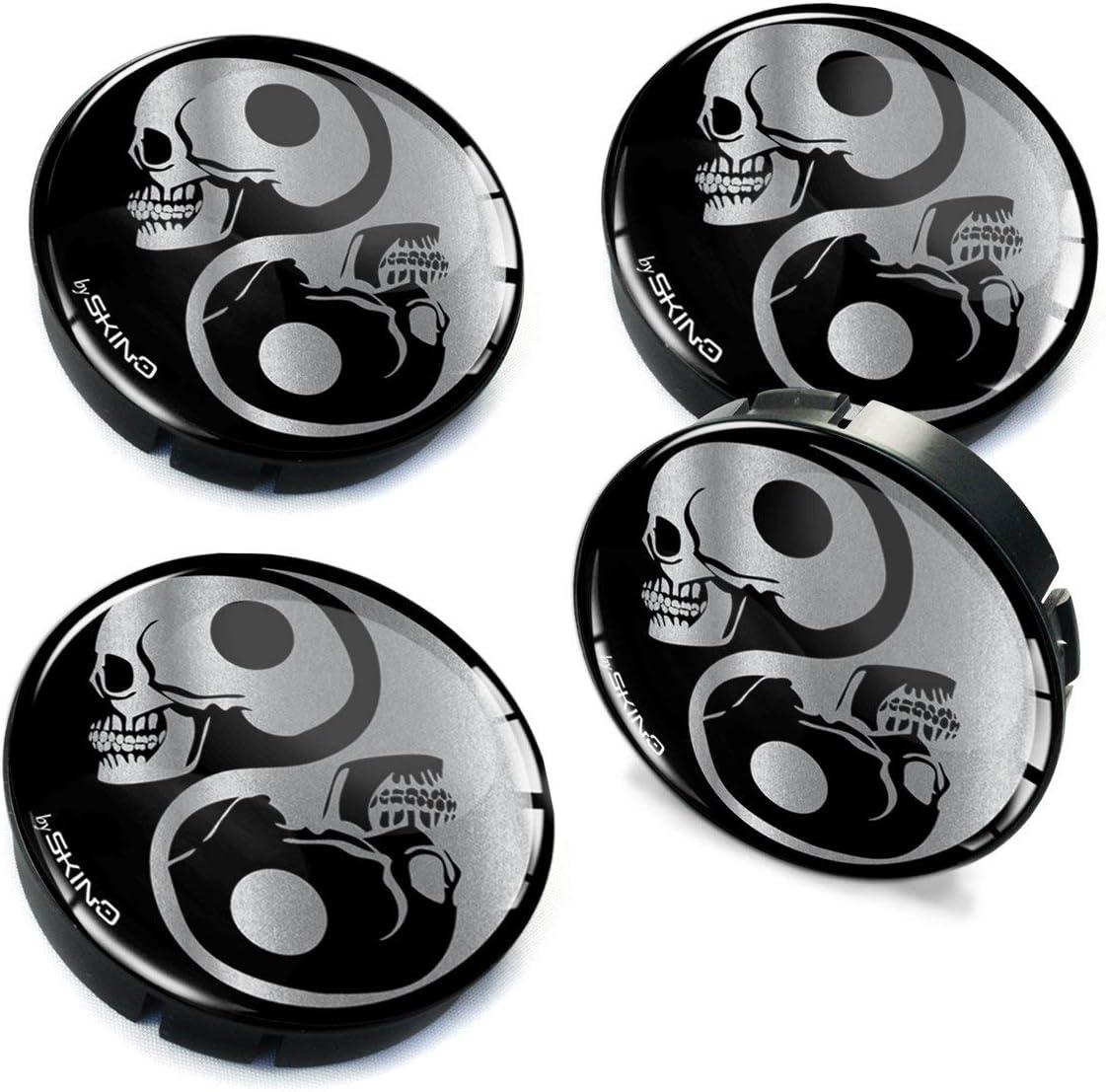 Biomar Labs/® 4 x 60mm 3D Enjoliveurs Cache-moyeu pour Jante Moyeu de Roue Centre Hub Caps Yin Yang Symbole C 82