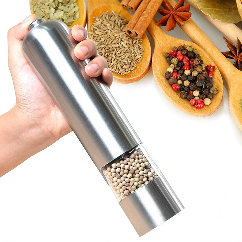 E'YOBE Pepper Grinder Automatic Salt and Pepper Mill with Adjustable Ceramic Rotor and LED Light by E'YOBE
