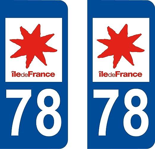 """Pegatinas de placa de matrícula de coche, con """"78 Île-de-France"""", 2 unidades, logotipo: Amazon.es: Coche y moto"""