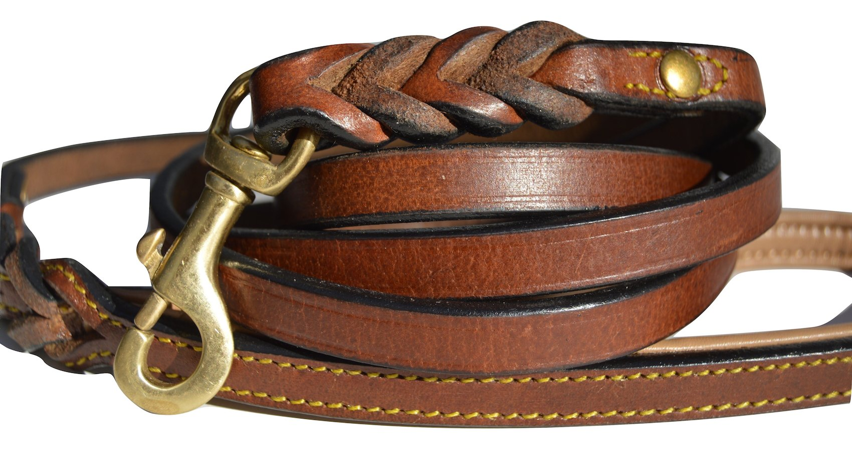 Soft Touch Collars Leather Braided Dog Leash, Brown with Soft Leather Padded Handle, 6 Foot