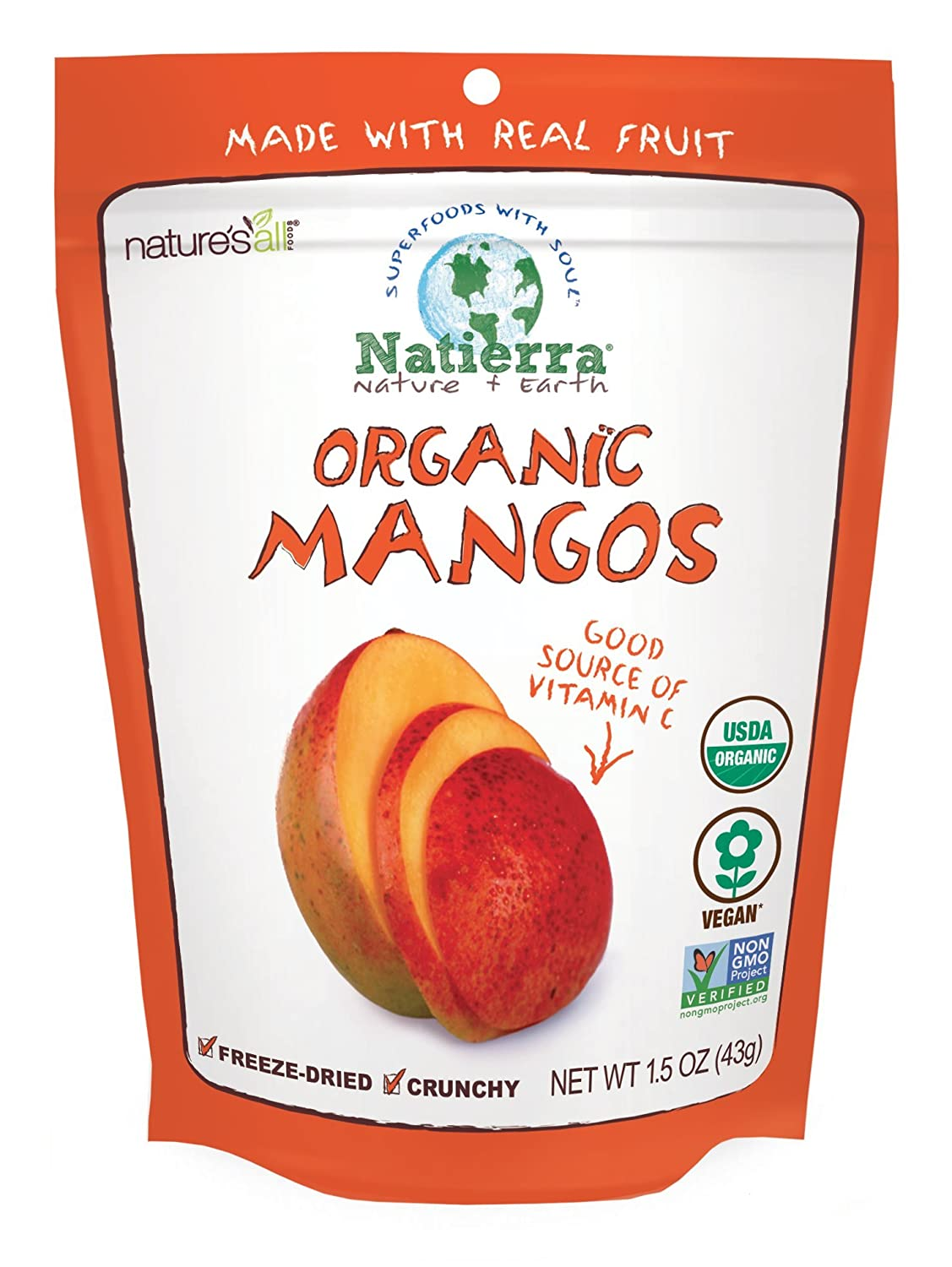 Natierra Nature's Organic Freeze-Dried Mangoes | Gluten Free & Vegan | 1.5 Ounce
