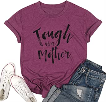 Mom Shirts for Women Funny Tough as A Mother Letters Printed Short Sleeve Mom T Shirt Mother Day Tops
