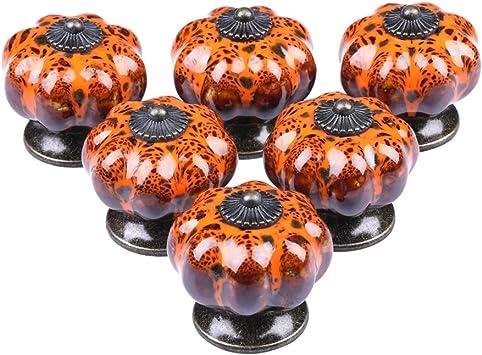 Vintage Ceramic Pumpkin Shaped Round Drawer Knobs Door Handles Knobs C