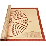 """Oudisen Silicone Pastry Mat Baking Mat Non-Stick Non-Slip Extra Large Bread Kneading Board with Measurements Board for Rolling Dough Thicken (28"""" x 20"""")"""