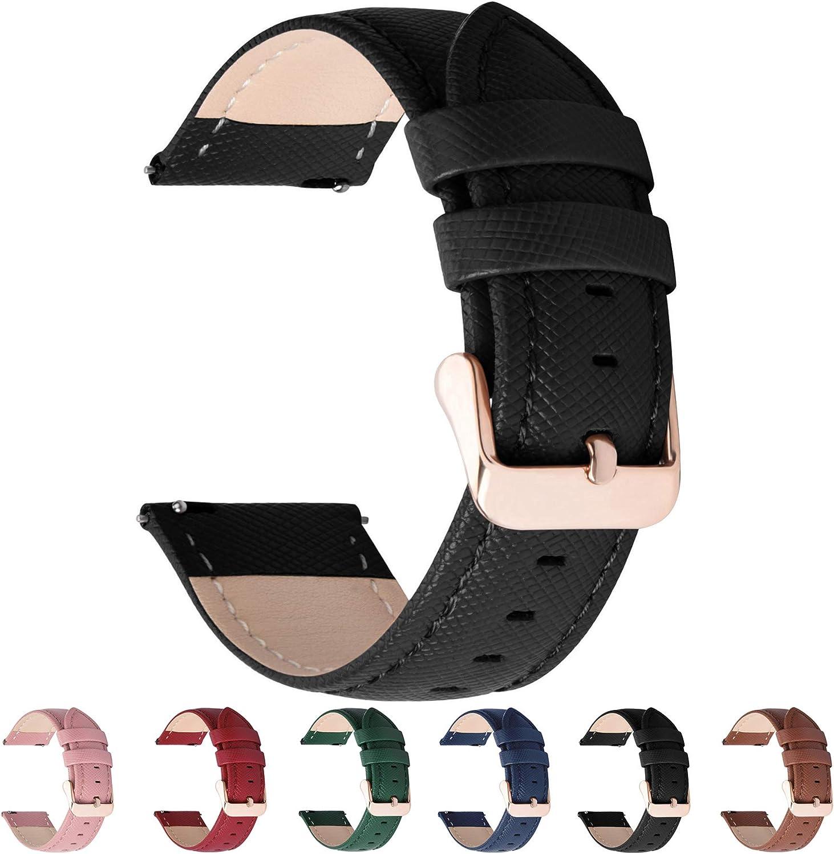 Fullmosa 6 Colores para Correa de Reloj, Cross Piel Correa Huawei Samsung Correa/Banda/Band/Pulsera/Strap de Recambio/Reemplazo 18mm 20mm 22mm 24mm,Negro 20mm