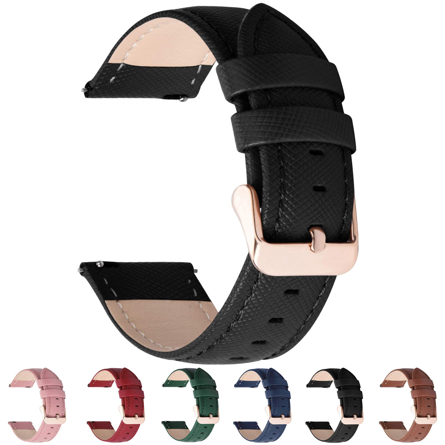 6 Colors for Quick Release Leather Watch Band Fullmosa Cross Genuine Leather Replacement Wrist Strap for Men & Women 14mm 16mm 18mm 20mm 22mm 24mm