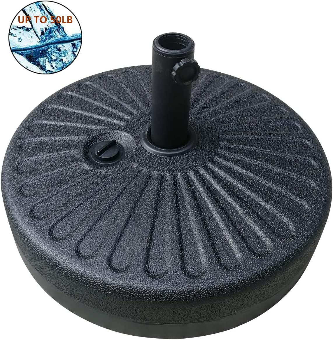 Jadada 50LB Umbrella Base Stand Water Filled Market Patio Outdoor Heavy Duty Umbrella Holder Black