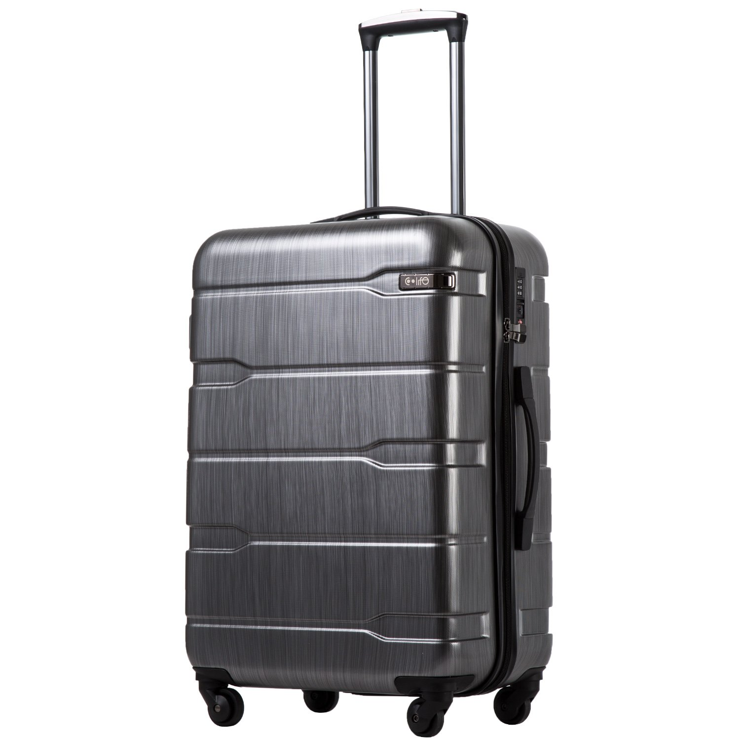 COOLIFE Luggage Expandable(only 28'') Suitcase PC+ABS Spinner Built-in TSA Lock 20in 24in 28in Carry on (Charcoal, L(28in).)