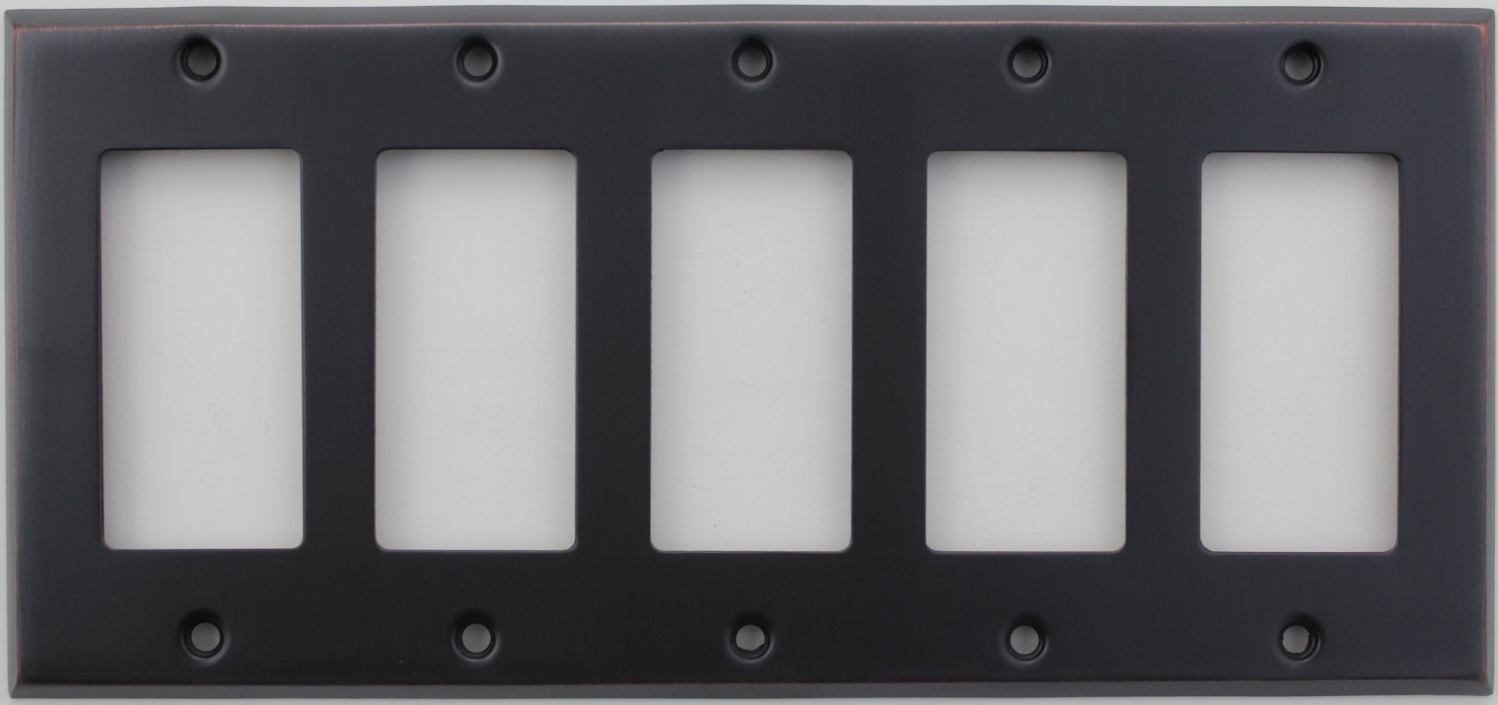 Classic Accents Stamped Steel Oil Rubbed Bronze Five Gang GFI/Rocker Opening Wall Plate