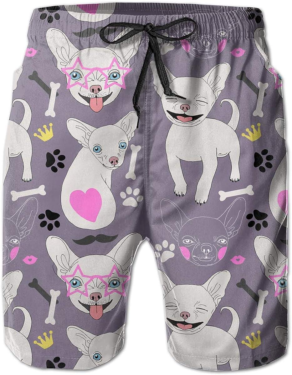 FRS Ltd Happy Chihuahua Mens Quick Dry Swim Trunks Beach Board Mesh Lining Shorts