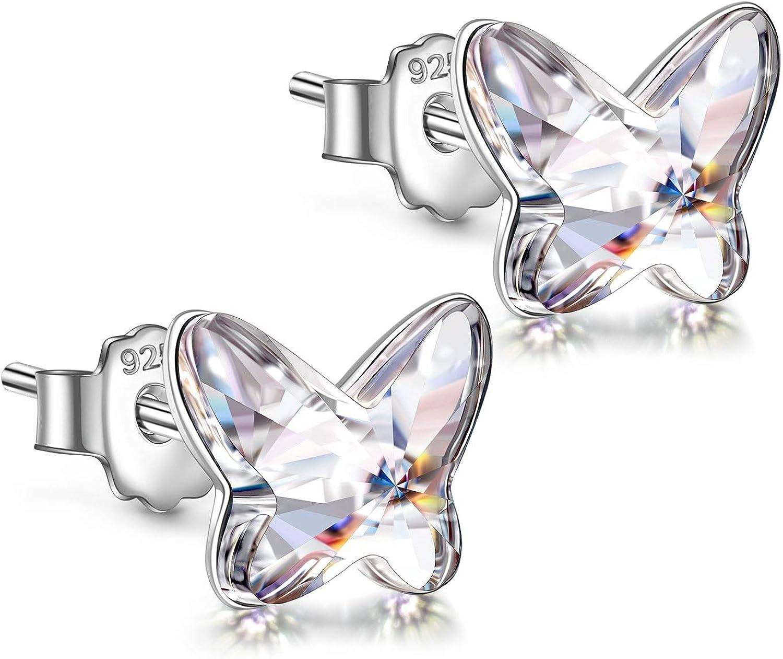 ANGEL NINA Pendientes Regalo para Niña, Pendientes Serie Mariposa, Plata de Ley 925, Cristales de Swarovski, con Exquisita Caja de Regalo, Regalo para Ella