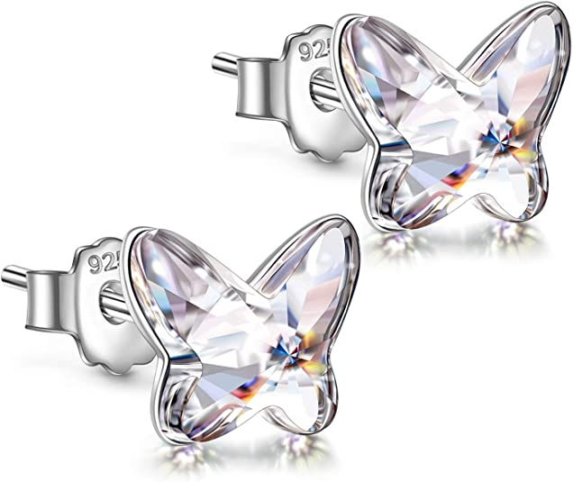 Angel Nina Earrings, Gift for Girls, Butterfly Series, 925 Sterling Silver, Crystals from Swarovski, with Exquisite Gift Box, Gift for Her, crystal: Amazon.de: Schmuck