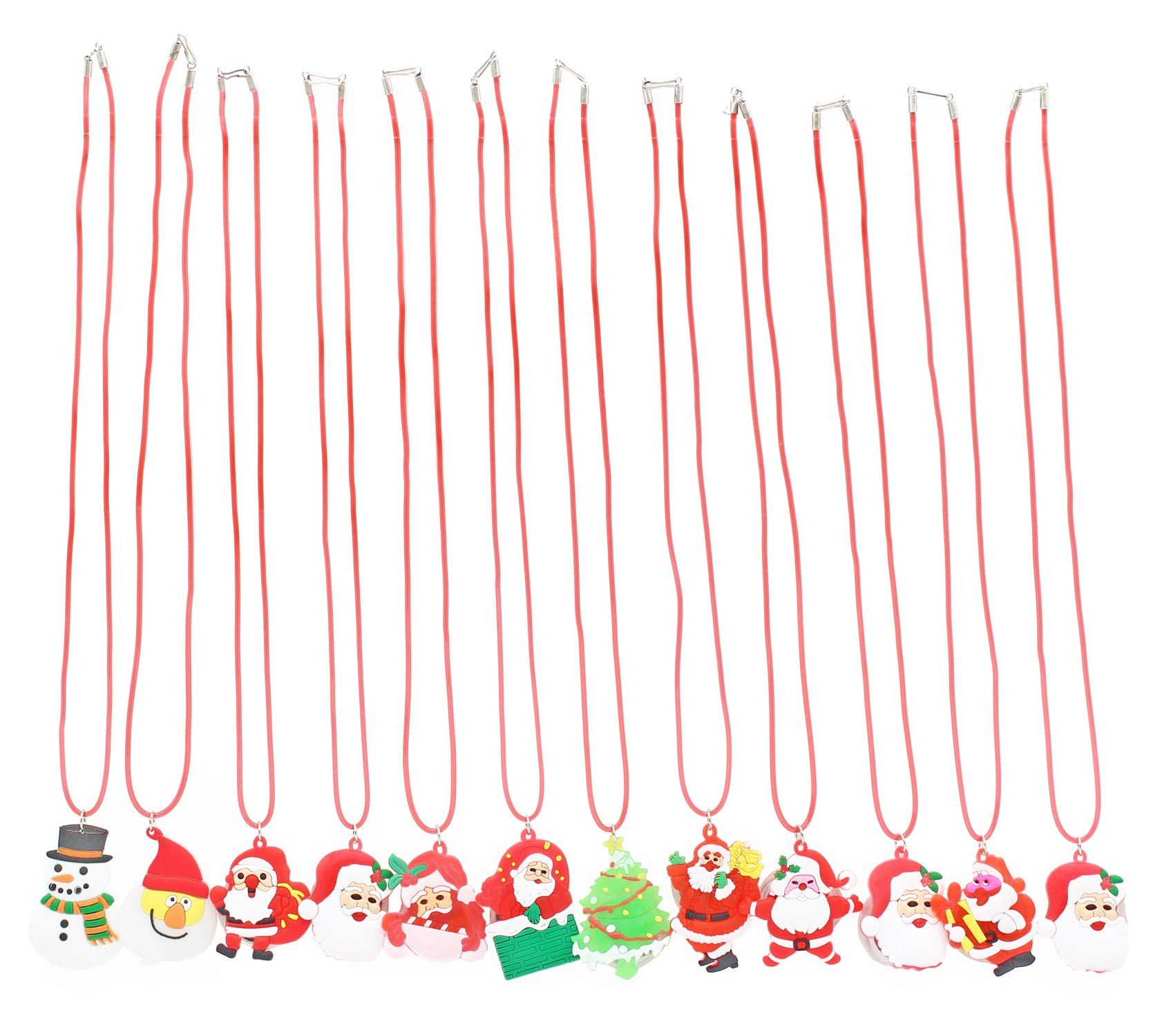 San Tokra 12 Pcs Light Up Christmas Necklace Lights, Holiday Flashing Light Necklace for Parties, Blinking LED Bulbs Santa Claus Christmas Tree Snowman Pendant, Xmas Necklace for Kids by San Tokra