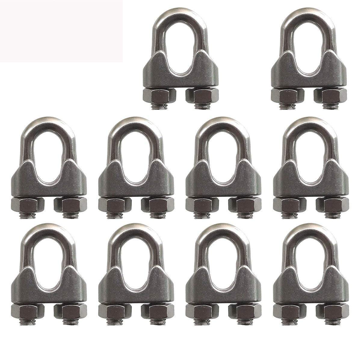 SKKXY 10Pcs M10 Stainless Steel 3/8'/9.5mm Steel Wire Rope Clip Cable Clamp U Bolt Saddle Fastener