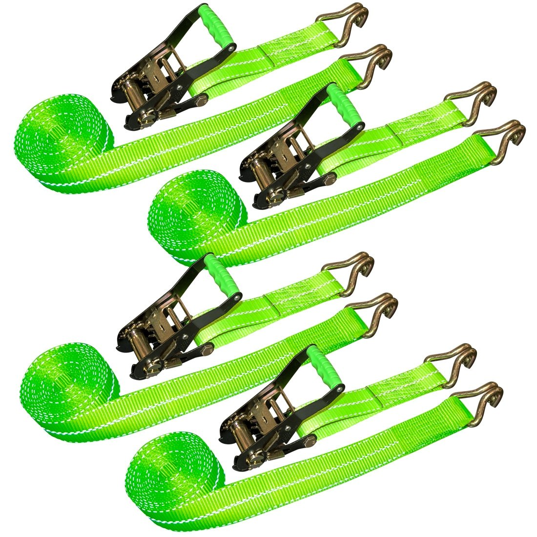 Vulcan HI-VIZ 2'' x 15' Ratchet Straps With Wire J-Hooks, 3300 lbs. SWL, 4 Pack