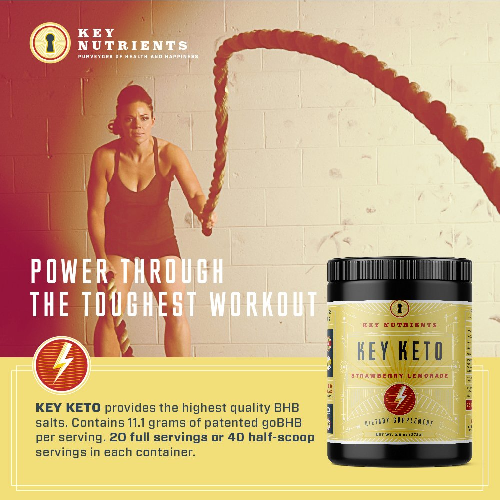 Exogenous Ketone Supplement, KEY KETO: Patented BHB Salts (Beta-Hydroxybutyrate) - Formulated for Ketosis, to Burn Fat, Increase Energy and Focus, Supports a Keto Diet. Strawberry Lemonade (278g) (20) by Key Nutrients (Image #9)