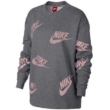 Nike W NSW Crew Futura Toss, Sudadera para Mujer, (Gris Carbón/Negro