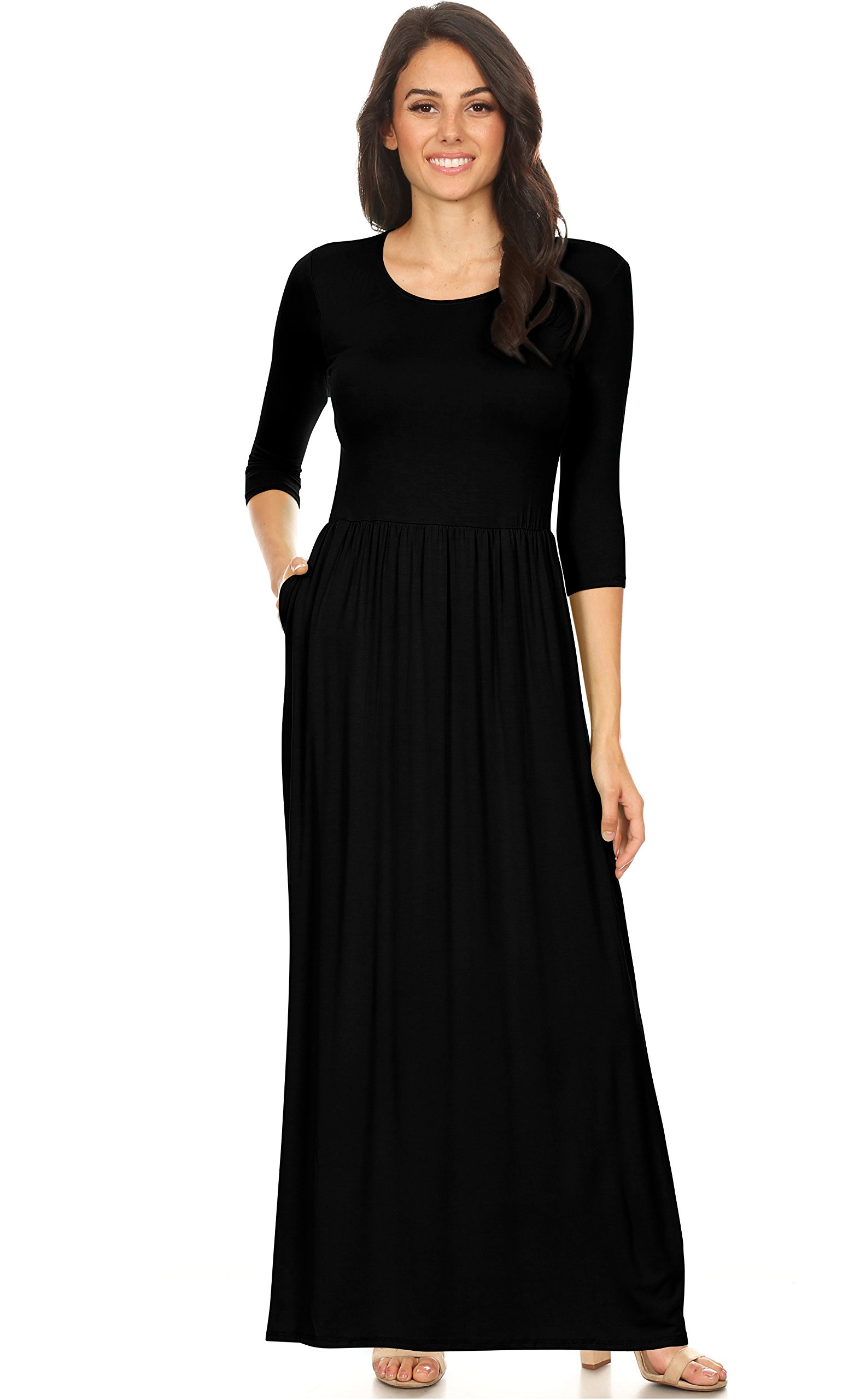 Simlu Womens Long Rayon Maxi Dress with Pockets, Scoop Neck and Empire Elastic Waist