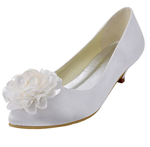 Kevin Fashion - Zapatos de boda a la moda Mujer , color Blanco, talla 39 1/3 EU