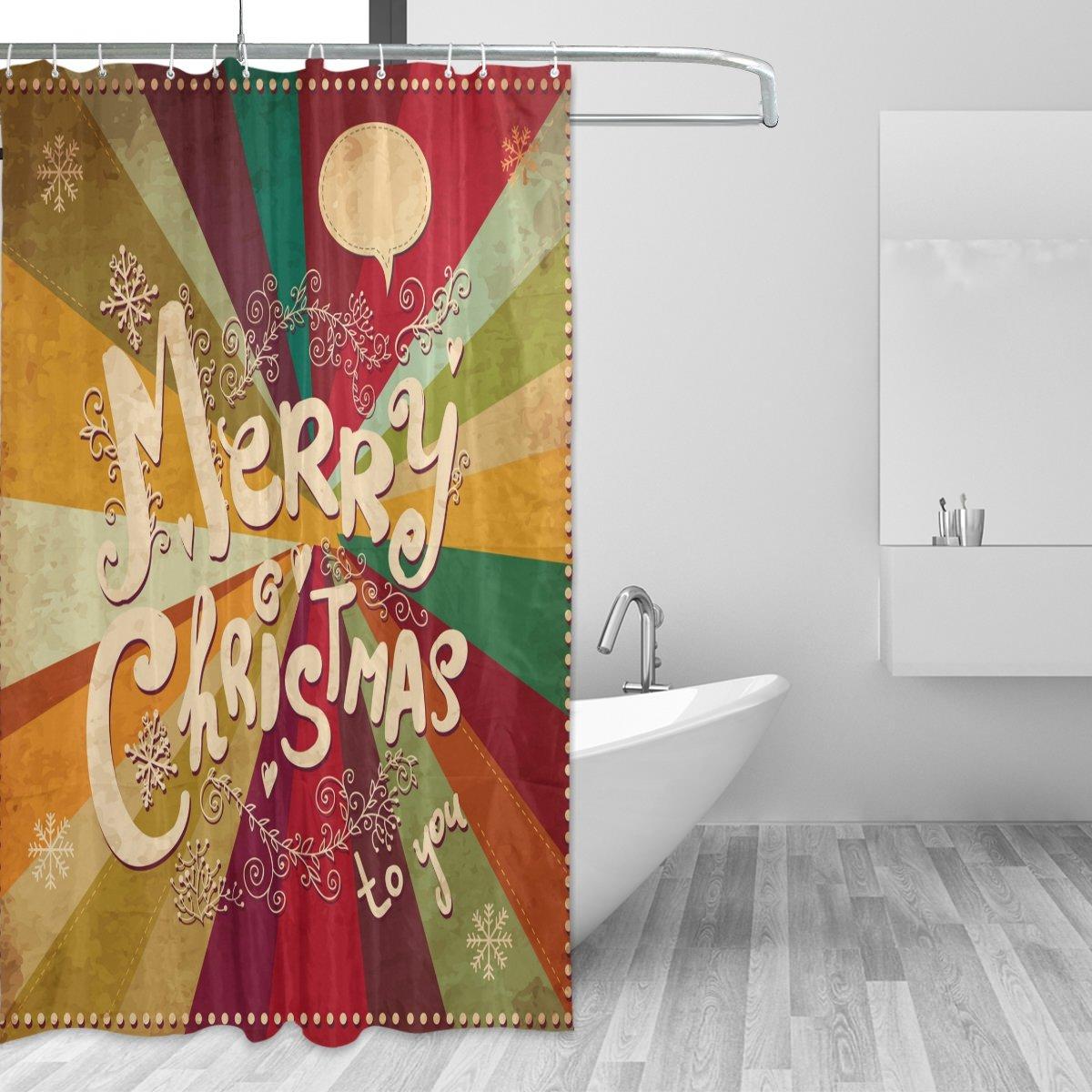 COOSUN Frohe Weihnachten Duschvorhang Set Polyestergewebe ...