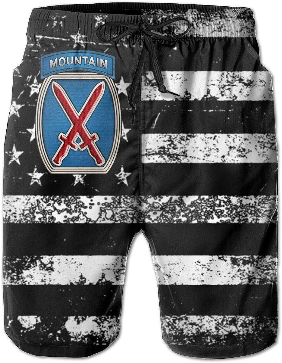 HANINPZ 10th Mountain Division Insignia Mens Swim Trunks Beach Short Board Shorts