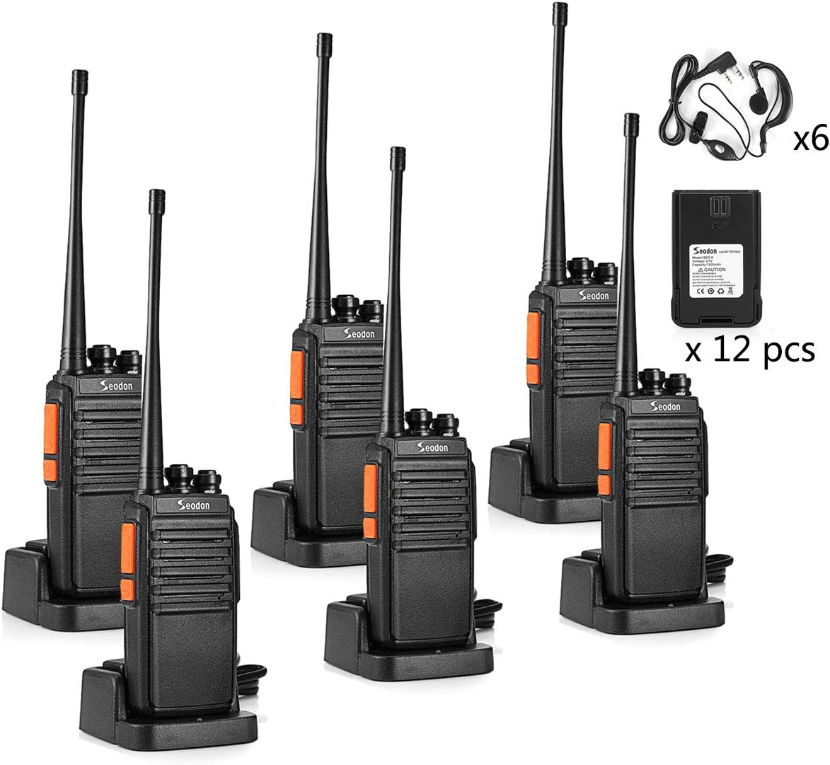 Seodon Walkie Talkies for Adults Long Range 6 Pack Rechargeable Two Way Radio with 12 Pcs Li-on Batteries up to 3 Miles Range in The Open Filed UHF 400-470 Mhz with Headphone Earpieces