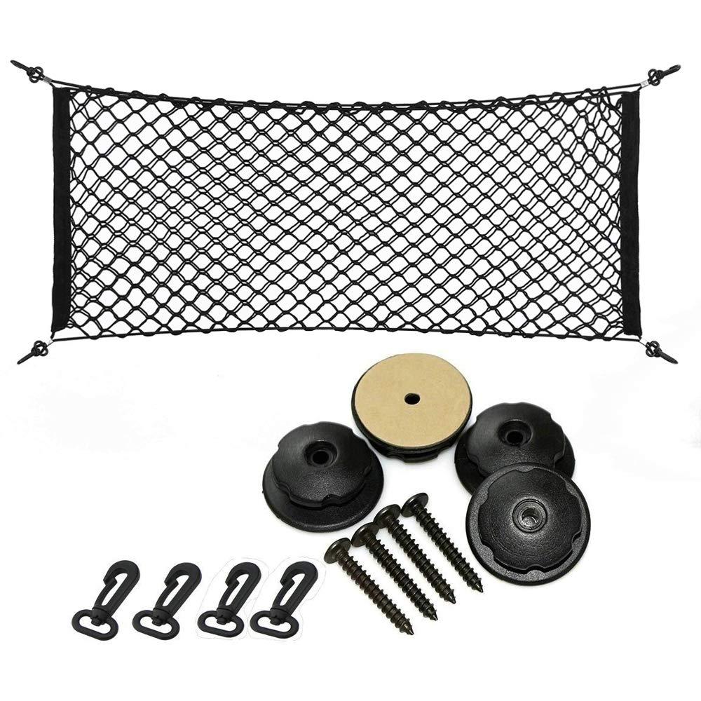 Universal Car Cargo Net Flexible Mesh Trunk Storage Net with 4 Adjustable Hooks Black