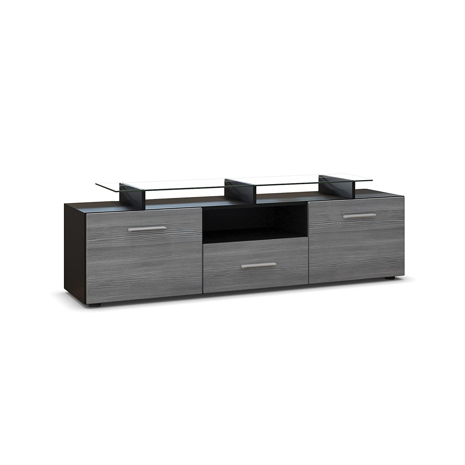Tv Stand Unit Almada, Carcass In Black Matt Front In