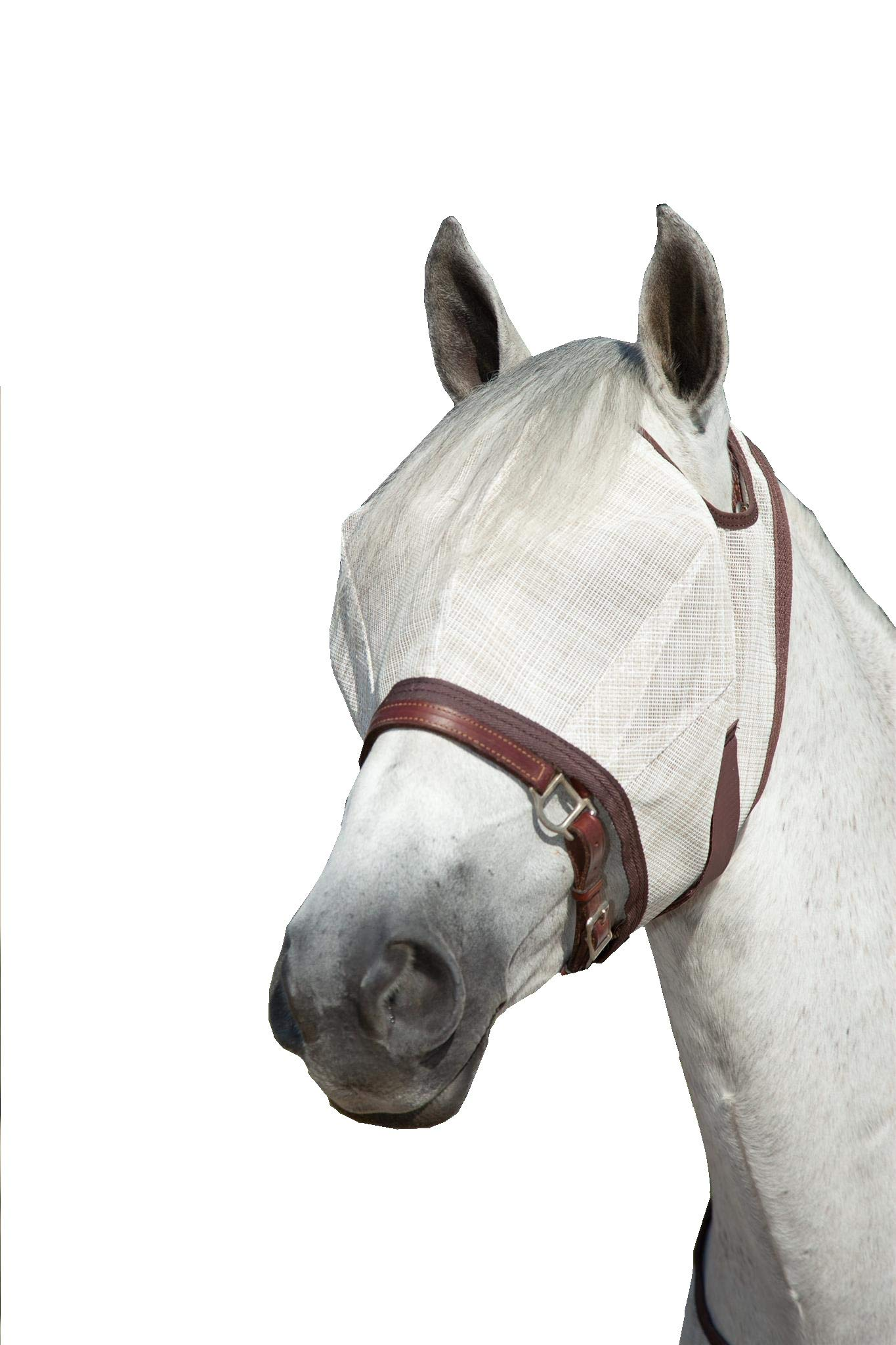 Kensington Natural Fly Mask with Web Trim - Protects Horses Face Eyes from Biting Insects and UV Rays While Allowing Full Visibility - Ears and Forelock Able to Come Through The Mask (Large, Grey) by Kensington Protective Products