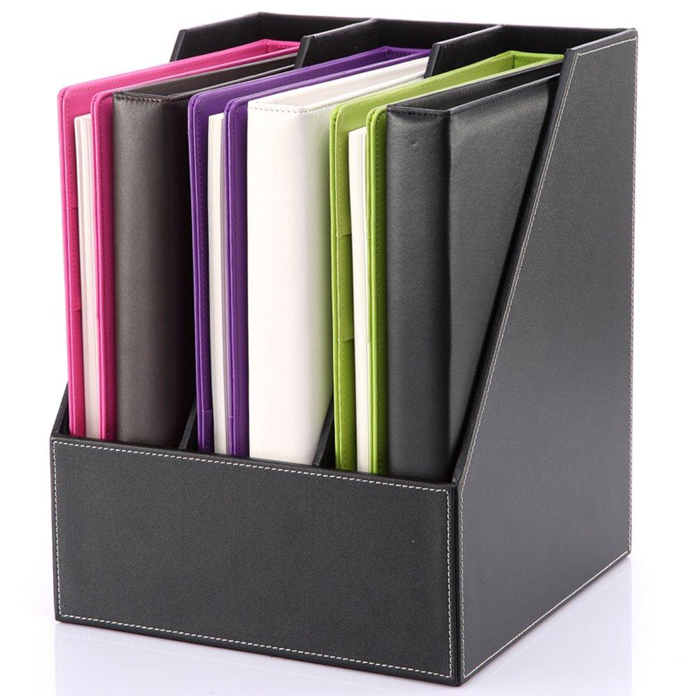 KINGFOM 3-Slot Wood Leather Desk File Document Holder Cabinet Box Cubbyhole Pigeonhole Organizer Rack (black)