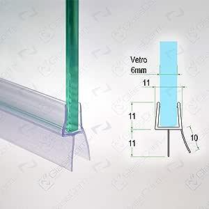 Junta para mampara de ducha Burlete doble Escurridor transparente con tapa de cristal 4 mm-vendida por 2,20mt: Amazon.es: Bricolaje y herramientas