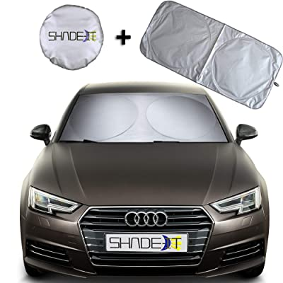 "Shade-It Car Windshield Sun Shade + Free Product - Durable 210T Nylon Polyester Heat Block & UV Protection Sunshades - Sunlight Blocker Reflective Coating, Easy Storage Sunshade (Medium 64"" x 30.5""): Automotive"