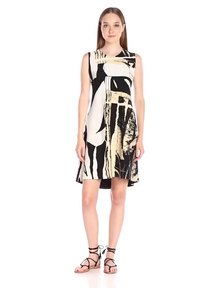 24029066ef8 Norma Kamali Women's Sleeveless Bonded Swing Dress at Amazon Women's ...