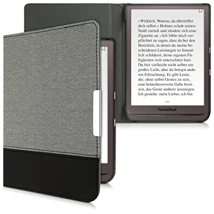kwmobile Case for Pocketbook InkPad 3 - PU Leather and Canvas Protective  e-Reader Cover Folio Case - Grey/Black