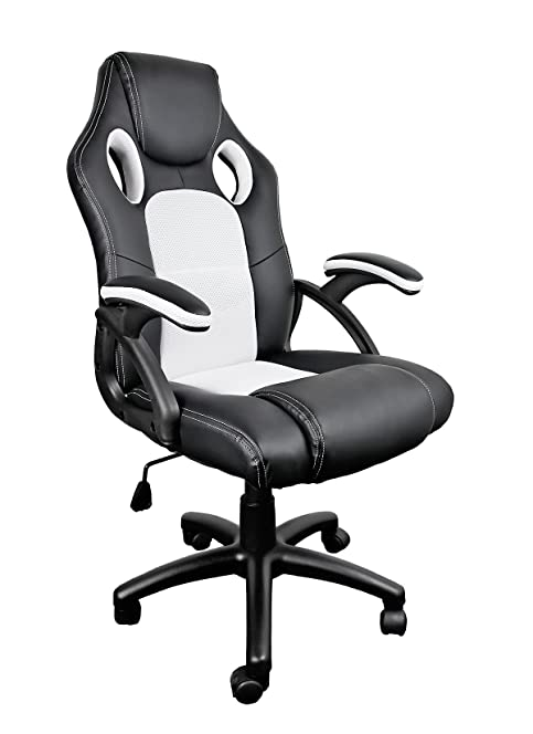 Racing Office Desk Computer Chair Bucket Seat (White And Black)