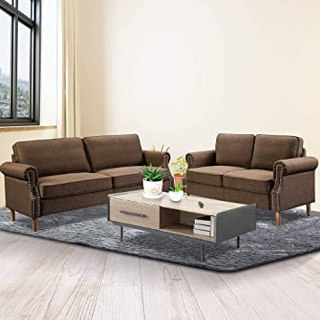 Amazon Com Recaceik 2 Piece Living Room Sofa Set Morden Style Couch Furniture Upholstered Sectional Loveseat For Office Home Brown Office Products