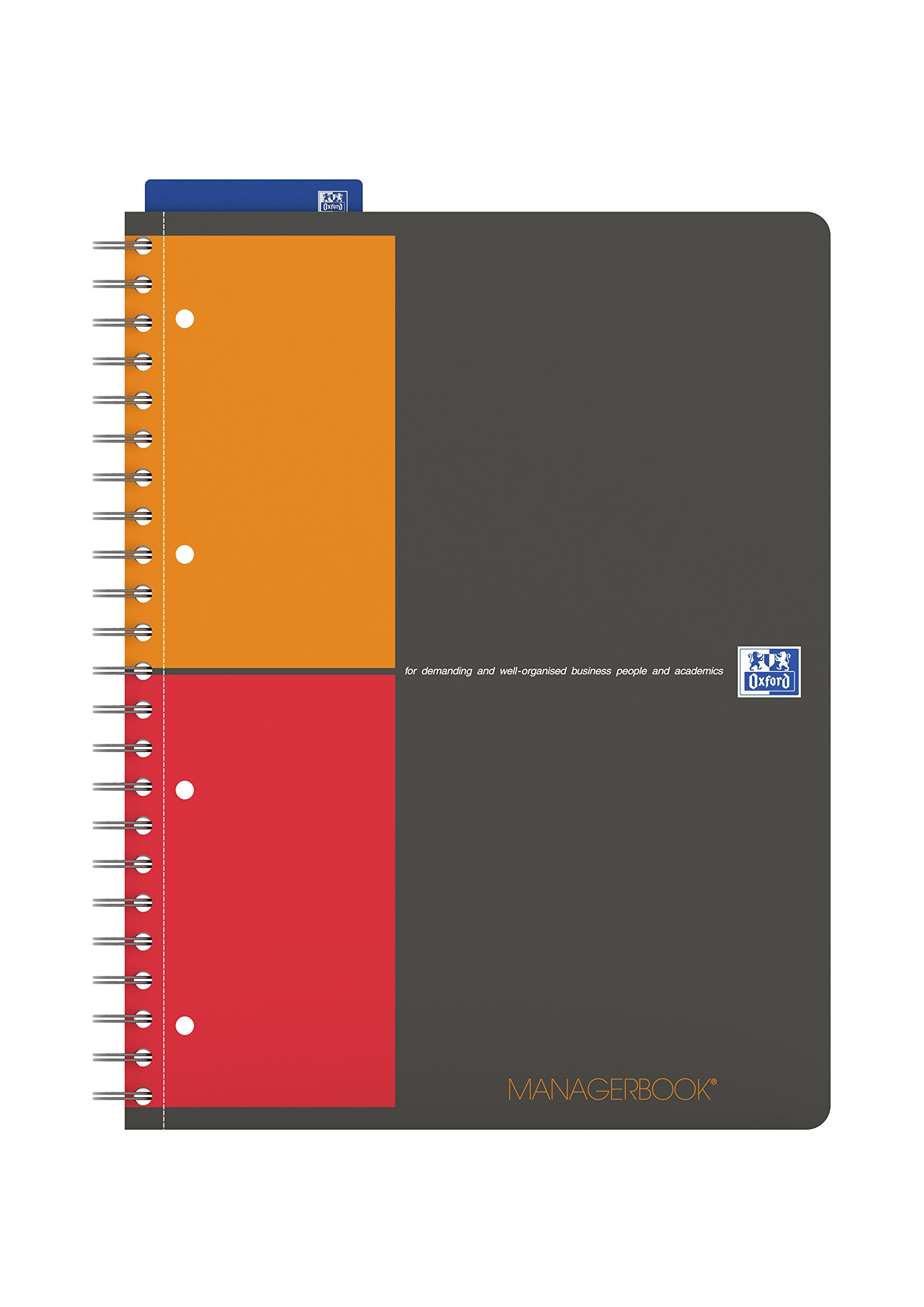 Oxford International A4+ Poly Cover Manager Book Narrow Ruled with Margin and Perforated Notebook Including Template Ruler and 5 Repositionable Dividers, 160 Page, 1 Notebook