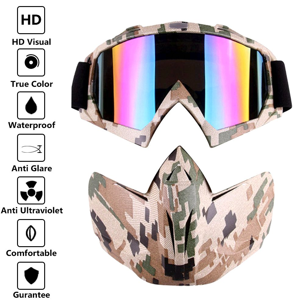 HCMAX Motorcycle Goggles With Detachable Face Mask Helmet Fog-proof Windproof UV Protection Bike ATV MX Glasses for Desert Offroad Riding Racing Fits Men Women
