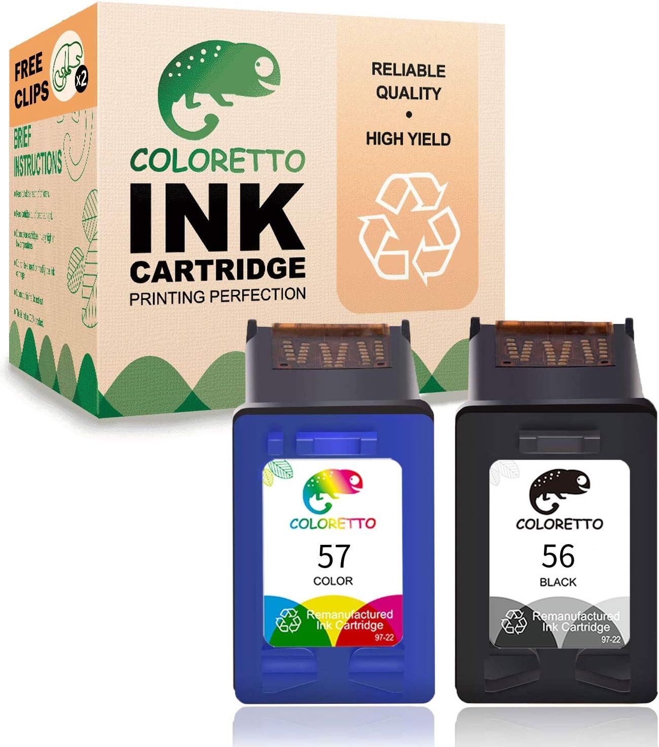 Coloretto Re-Manufactured Printer Ink Cartridge Replacement HP 56 57,Used in HP Deskjet Series: 450,450cbi,450ci,Photosmart Series: 7150, 7150v, 7155,Officejet Series: 4105 (1 Black+1 Tri-Color