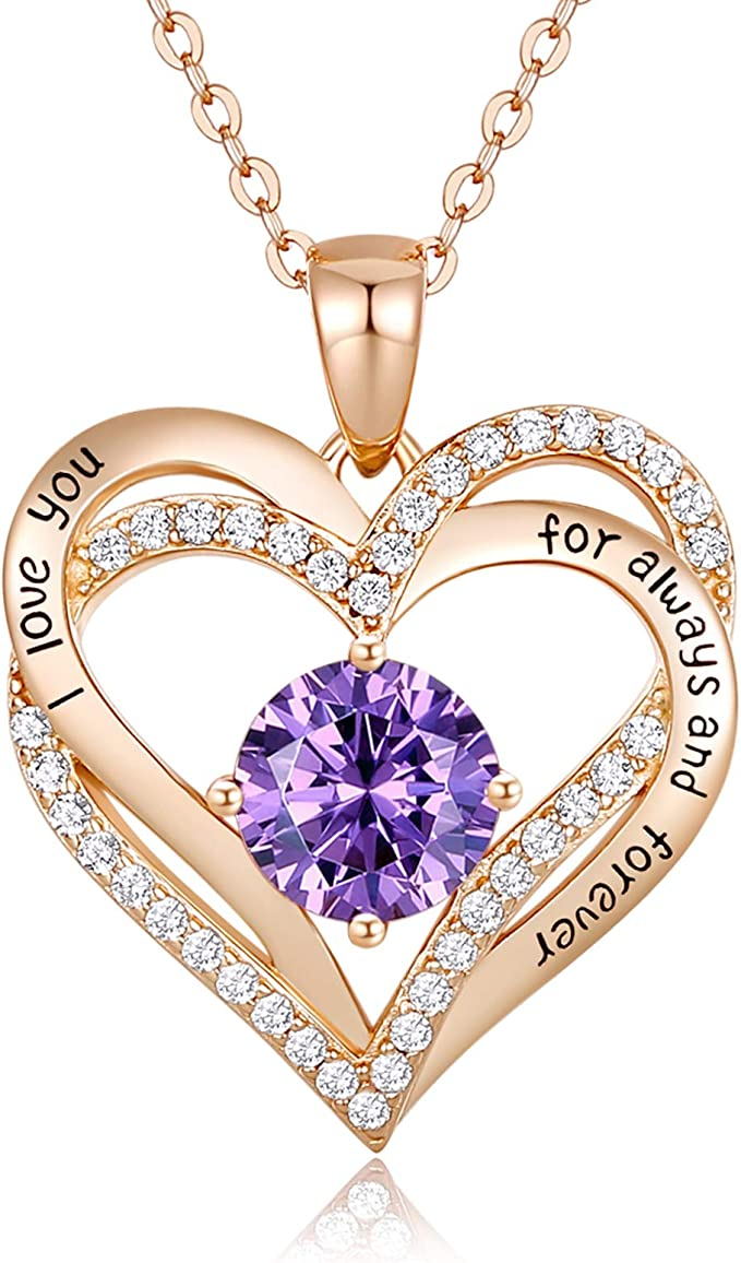 Heart Necklace 925 Sterling Silver Rose Gold Plated 5A Cubic Zirconia Birthstone Pendant Necklaces for Women Mother Days Jewelry Gift with Box