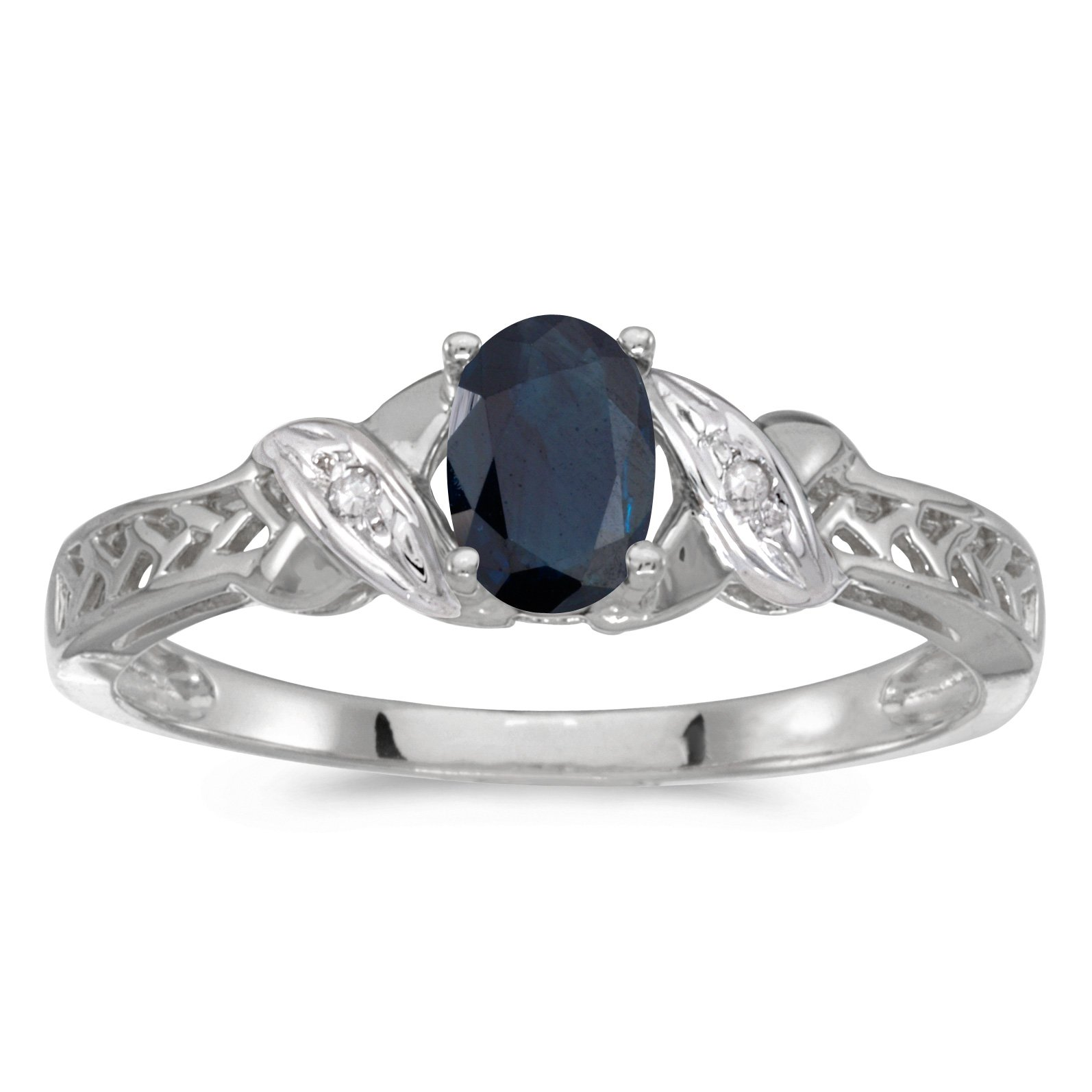 0.40 Carat ctw 14k Gold Oval Blue Sapphire & Diamond Crossover Infinity Antique Promise Fashion Ring - White-gold, Size 11