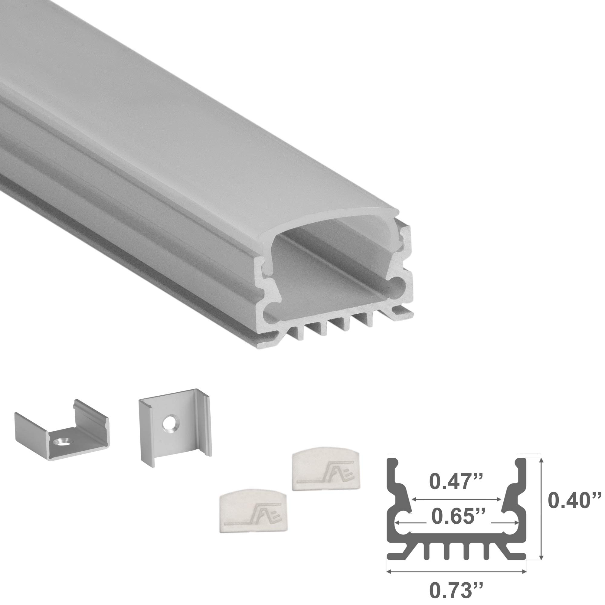 LEDPROFILES 5-Pack 4ft (1.2Meter) U Shape LED Aluminum Channel with Frosted Flat Diffuser, End Caps and Mounting Accessories - 967 Series - LED Profile Extrusion Upto 16mm/0.63'' Wide LED Strip Lights by ARMA