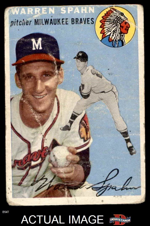 1954 Topps # 20 Wht Warren Spahn Milwaukee Braves (Baseball Card) (White Back) Dean'S Cards 1 - Poor Braves